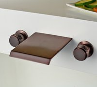 bathtub knobs - Waterfall Bathtub Mixer Tap Double Knobs Wall Mount Sink Faucet Oil Rubbed Bronze