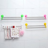 Wholesale 2016 Hot Multifunction Two Layer Towel Rack Candy Color With Power Suction Cup Towel Holder Bathroom Rack Hook