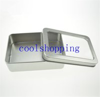 Wholesale 10 cm Open Window Metal Storage Cases Tin Boxes Steel display packaging can pm