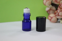 Wholesale SMALL ML BLUE EMPTY PERFUME ROLL ON ROLLER BALL GLASS BOTTLE BMB