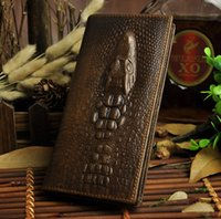 bi fashion - 1314 Croco Leather Men Wallet Bi Fold Long vertical horizon shape Genuine cowhide leather purse money clip Fashion Luxury Design OEM logo