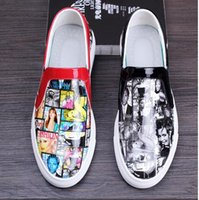 b posters - Hot Selling Mens Casual Comfort Shoes Poster Covers D Print Leisure Leather Slip On Flat For Man Size Summer And Autumn