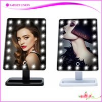 bathroom makeup vanity - 2016 Best Sell LED Makeup Mirror Square plastic Touch sensor mirror Hollywood style Vanity cosmetic Mirror