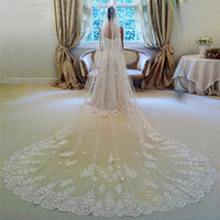 Wholesale Cathedral Tail Wedding Veil Long one Layer meter Custom Made Bridal Veils White Lace Applique Edge Wedding Veils wedding Accessory