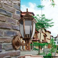 aluminium die casting lamp - Aluminium Die casting Porch Light Brass Black Outdoor Wall lamp Garden Yard Lawn Asile Cottage Style Street Lights