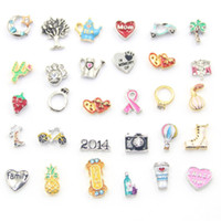 Wholesale floating charms diy jewelry for living glass locket mix design floating locket charms