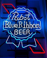 Wholesale Larger Pabst Blue Ribbon Real Glass Neon Light Sign Home Beer Bar Pub Recreation Room Game Room Windows Garage Wall Sign