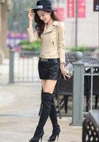 Wholesale PU long sleeved jacket Hitz Ladies Leather Slim Slim coat jacket lapel jacket casual fashion sales