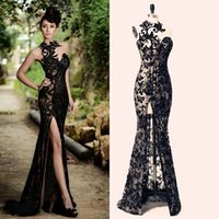 Wholesale 2016 Black Rami Salamoun Split Prom Dresses Long Appliqued Sheer High Neck Beading Mermaid Evening Gowns Real Images Cheap Party Dress