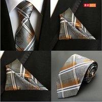 Wholesale 72 styles Neck Tie Set cm Mens Tie cm Pocket Square Neckties Silk Fashion Classic Handmade Wedding High Quality Paisley Stripes Plaids