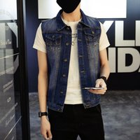 Wholesale 2016 New Fashion Mens Denim Vest Vintage Sleeveless washed jeans waistcoat Man Cowboy ripped Jacket Plus Size XL Tank Top
