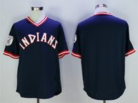 Wholesale Cheap New Men s Cleveland Indians Ness Navy Custom Pullover Retro Baseball Jersey