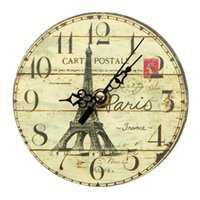 antique french clock - 2016 New Arrival Diameter CM Vintage France Paris Eiffel Tower Wall Clocks French Country Round Wood Wall Clock Hot Sale