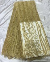 Wholesale Top grade Gold Latest African Tulle Lace High Quality African Tulle Lace Fabric For Wedding Dress French Lace With Beads QA337