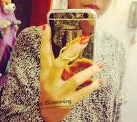 Para el iphone 7 encajona las cajas del espejo del sostenedor del anillo con la cáscara suavemente ultrafina de la cubierta de TPU del cromo de electrochapado para el iphone 5S 6S 7 más el móvil 2016