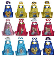 Wholesale Kids Minions Capes Girls Frozen Elsa Anna Capes Masks Set Double Layers Costumes Cosplay Capes Halloween Party Cinderella Mermaid Capes