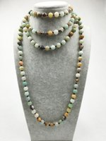 agate stone pictures - ST0307 Long Necklace inches knotted Natural Turquoise Indian Agate Picture Jasper Amazonite necklace natural stone necklace