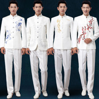 Wholesale costume homme Chinese style New mens tunic suits embroidery stage costumes for singers MC host dress suits