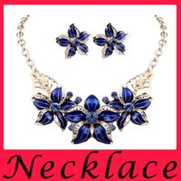 alloy dark blue - Hot Sell Wild Fashion Flowers Oil Drip Set Auger Jewelry Sets Of Earrings Necklace For Women