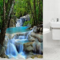 Wholesale 3D Waterfall Scenery Waterproof Shower Curtain Bathroom Products Creative Polyester Bath Curtain cortina de bano with Hooks