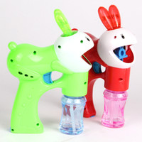 Wholesale Flashing Bubble Gun Light Up Electric Rabbit Blower Blaster With LED Lights Great Party toys hot selling
