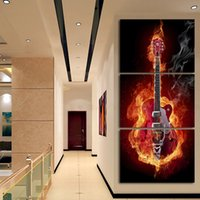 abstract guitar paintings - Music Art Panel Wall Painting Modern Home Decors Black Burning Guitar Pop Art Pictures Decoration On Canvas Painting Printed No frame