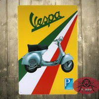Wholesale Vespa Scooter Italian Classic Mod Target Medium Metal Tin Sign Picture C