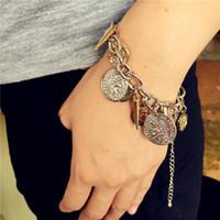 European Link Chain Monnaie Charm Beads Bracelets Vintage Style Court Head icon Bijoux Pour les femmes filles Cadeaux de Noël