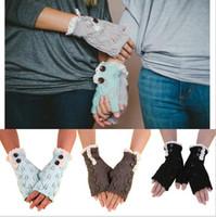 Wholesale 2016 New Winter Women s gloves Knitting Button Lace Trim Half Finger Gloves Wrist Gloves Fingerless Gloves Fashion Accessories DHL FREE