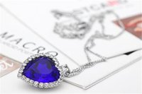 heart of the ocean - Hot Alloy Jewelry Necklaces Pendants Korea Heart of the Ocean Blue Sapphire Short Pendant Necklaces for Women