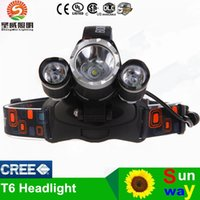 Wholesale T6 main light headlight headlamp outdoor rechargeable sport riding CREE T6 LED lights with X mah battery AC charger