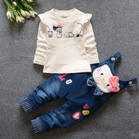 Round american frogs - Lowest Price Long Sleeve Suspenders Two piece Girls Suit KT Frog Cartoon Spring Autumn Girl Clothing Sets Children Clothes