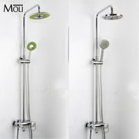Wholesale Wall mounted colorful rain shower set ABS head shower and hand shower bathroom single handle dual hole shower faucet