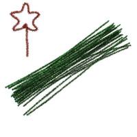 al por mayor limpiadores de tubos verdes-2Bundles verde reluciente de los limpiadores de pipa Craft Paillette de la Navidad DIY chenilla de alambre de alambre de hierro de 30 cm de largo