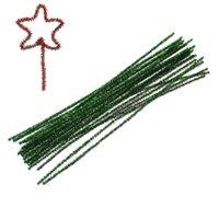 achat en gros de cure-pipes verts-2Bundles vert pailleté tuyau Nettoyeurs Artisanat Paillette bricolage de Noël Chenille fil fil de fer 30cm long