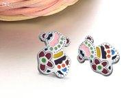 bear studs - Sweet Color Teddy Bear Earrings fashion Lovely bear rose gold women pendientes de la Jewelry