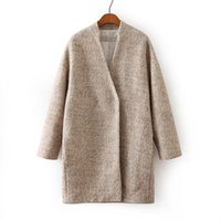 Wholesale Autumn And Winter Coat Female Women Fashion Cashmere Wool Coat Long Woolen Outerwear Trench Coats Tops
