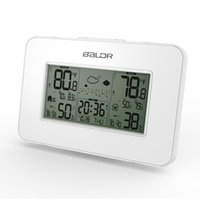 Wholesale White Baldr Weather Station Clock Indoor Outdoor Temperature Humidity Display Wireless Weather Forecast Alarm Snooze Blue Backlight