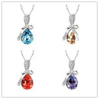 beauty element - Top Swarovski Elements Necklaces Jewelry Female Gift Necklace Colors Beauty Crystal Necklace Temperament Big Drop Style Pendant Jewelry