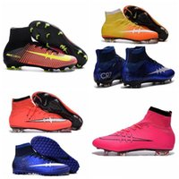 Wholesale Kids Soccer Cleats CR7 Cristiano Ronaldo Mens Mercurial Superfly FG TF Football Boots Women High Top Soccer Sneakers Shoes Youth Turf Pink