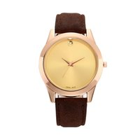 band contract - Fashion Women s Men s contracted dot style dial Leather band quartz wrist watch