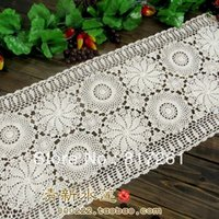 Wholesale European IKEA style crochet table cloth american table runner for party cutout cotton lace table cover coral cover