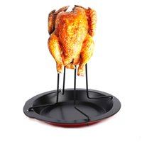 Wholesale New Carbon Steel Upright Chicken Roaster Rack With Bowl Tin Non stick Cooking Tools Baking Pan Barbecue Grilling Accessories