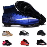 Wholesale Factory outlet Mercurial Superfly FG Laser Orange White Black Boots best selection of soccer cleats Mens Football Boots Cleats Colours