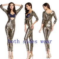 Wholesale Hot Sale High Quality Both Side Wear Women Sexy Leopard Faux Leather Vinyl Bodysuit Catwoman Catsuit Halloween Zentai Bodysuit Cosplay