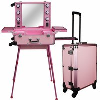 aluminium training - Professional Rolling Studio Makeup Artist Train Case with Lights Aluminium Cosmetic Case Large trolley makeup station Pink