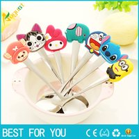 Wholesale Cute Cartoon silicone handles stainless steel spoon ice cream dessert spoon stirring coffee spoon creative tableware