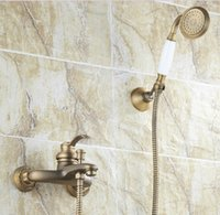 bathtub knobs - Antique Brass Wall Mounted Bathtub Faucet Mixer W Handheld Shower Dual Cross Knobs