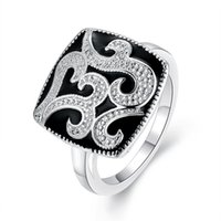 Wholesale Vintage Classic Rings With Side Stones Retro Silver Color Carved Size Rings for Women Black Rings Jewelry for Gifts
