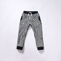 Wholesale Children Casual Trousers New Fashion Candydoll Kids Spring and Autumn Clothing Stripe Patchwork All match Girls Pants